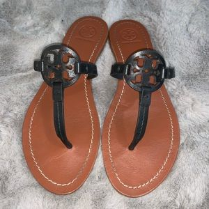 Tory Burch Mini Miller Leather Flat Thong Sandals